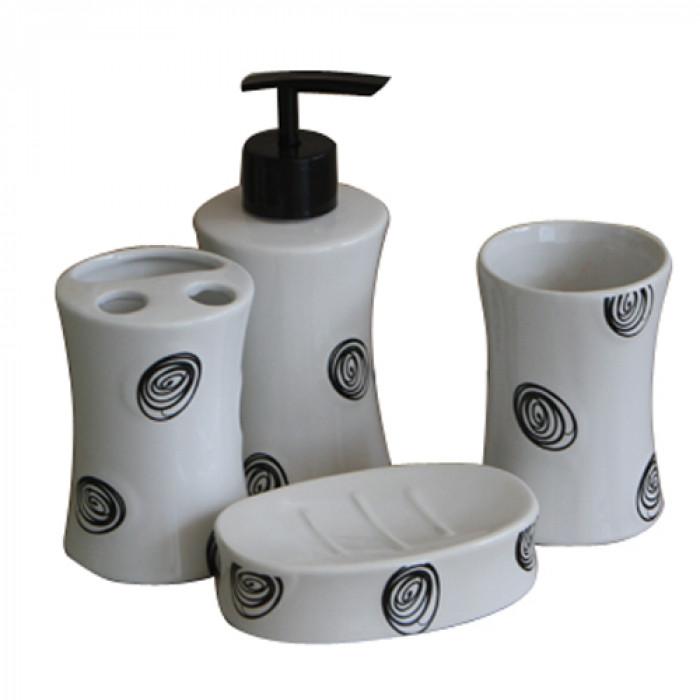 Комплект за баня порцелан №185А9360 черно 4 части