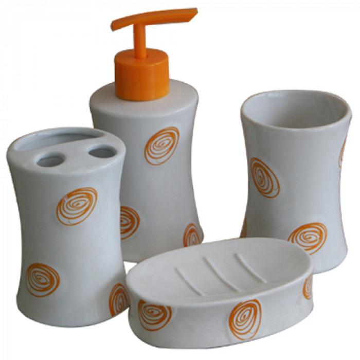 Комплект за баня порцелан №185а9383 оранжево 4 части