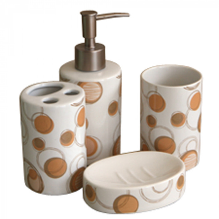 Комплект за баня порцелан №185е2478 бежово 4 части