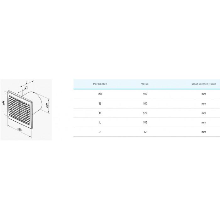 Вентилатор Vents 100ST / 14W