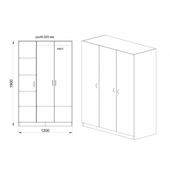 Трикрилен гардероб 1002 дъб сонома 120x52.5x191см