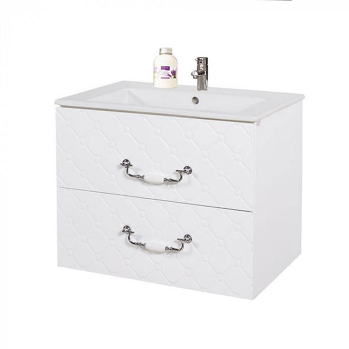 Долен шкаф за баня с мивка Макена Форте конзолен водоустойчив 65х55х43см