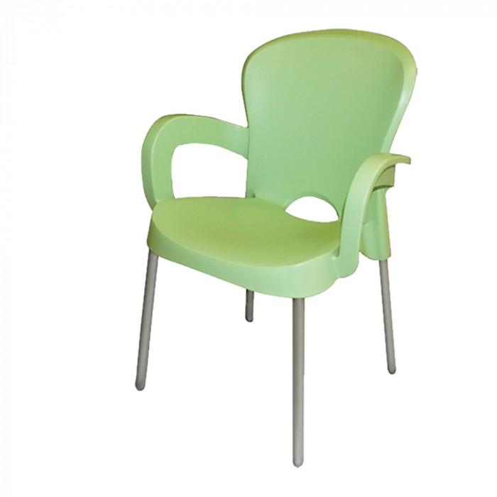 Градински PVC стол с метални крака Platin зелен
