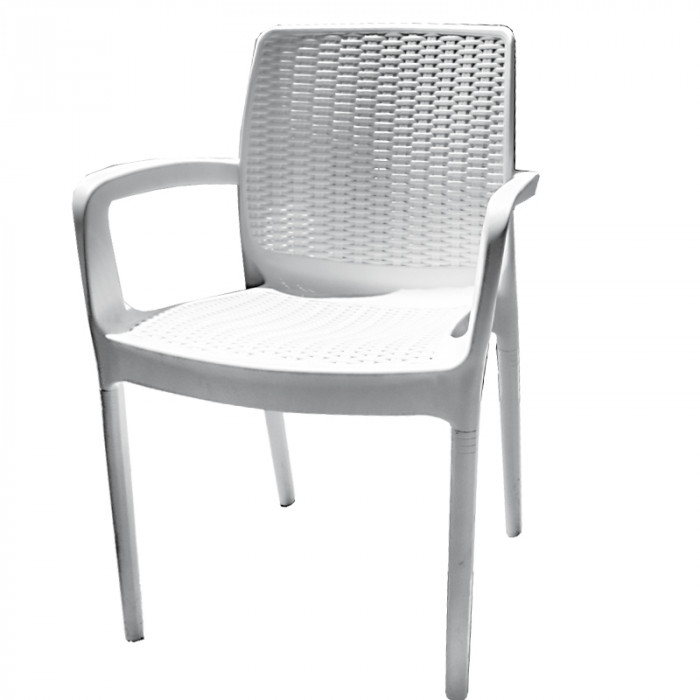 Градински стол от PVC ратан бял 84x57x52см