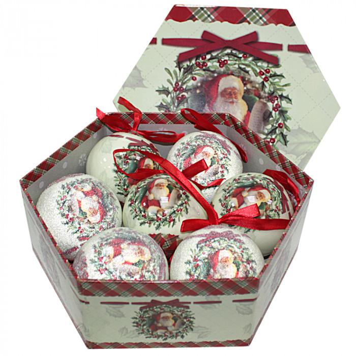 Коледни топки Дядо Коледа 7 броя 8см