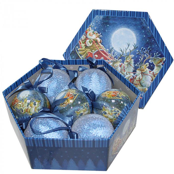 Коледни топки коледна нощ 7 броя 8см