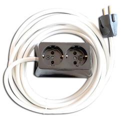 Разклонител двоен с кабел 3м. черен