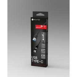 Текстилен кабел за данни Sturdo USB Type C / 3A / 5GB/s / 1m / черен