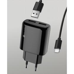 Мрежов адаптер Sturdo 2xUSB / 2A / кабел micro USB / 1m / черен