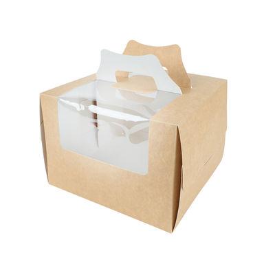 "REDMAN COATED KRAFT CAKE BOX WINDOW HANDLE 8X8X5.5"" 5PC"