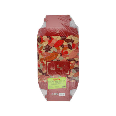 REDMAN MOONCAKE BOX W TRAY 8S RED LEAF 5SET