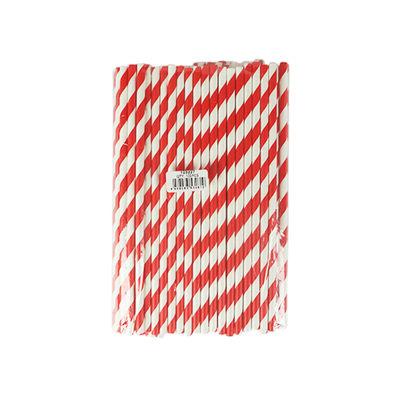 REDMAN PAPER STRAW RED/WHITE 6X197MM 100PC