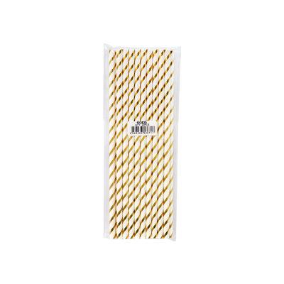 REDMAN PAPER STRAW GOLD STRIPE 6X197MM 20PC