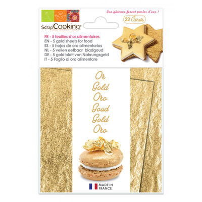 SCRAPCOOKING GOLD LEAVE TRANSFER SHEET 22CARATS 5PC