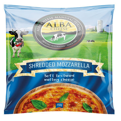 ALBA MOZZARELLA SHREDDED CHEESE 250G