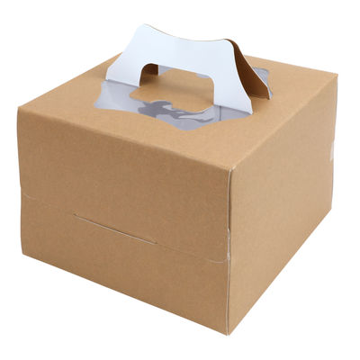 "REDMAN 700GSM KRAFT CAKE BOX WINDOW HANDLE 8X8X5.5"" 5PC"