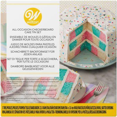 """WILTON 9"""" CHECKERBOARD ROUND CAKE PAN SET 03-3122 4PC"""