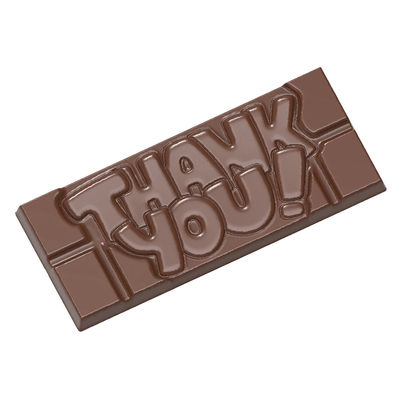 """CHOCOLATE WORLD """"THANK YOU"""" CHOC TABLET MOULD 4CAV CW12004"""
