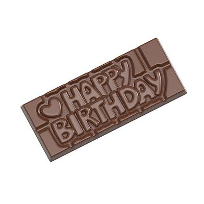 "CHOCOLATE WORLD ""HAPPY BIRTHDAY"" CHOC TABLET MOULD 4CAV CW12010"