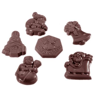 CHOCOLATE WORLD CHOCOLATE MOULD XMAS GARNISH 6FIG 18CAV CW1406