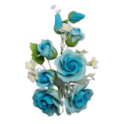GUM PASTE FLOWER (L) ROSE L.BLUE 14X21CM