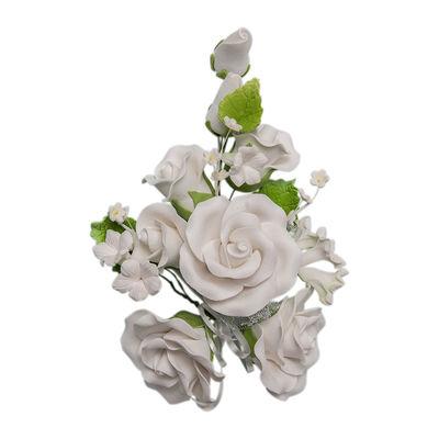 REDMAN GUM PASTE FLOWER ROSE WHITE (L) 14X21CM