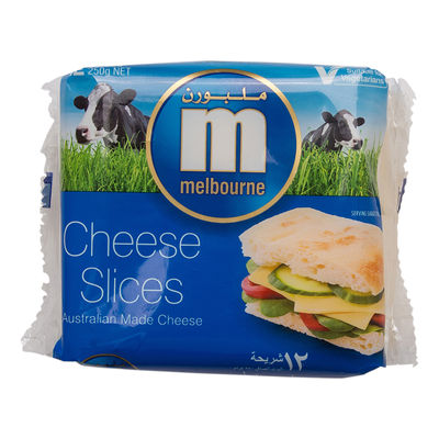 MELBOURNE PROCESSED CHEDDAR CHEESE SLICE (12PC) 250G
