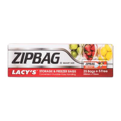 LACY'S ZIPBAG QUART SIZE 200MMX175MM (BOXX25PC+5PC FREE)