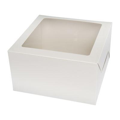 """REDMAN CAKE BOX PLAIN WHITE WINDOW SQUARE 9X9X5"""" 5PCS"""