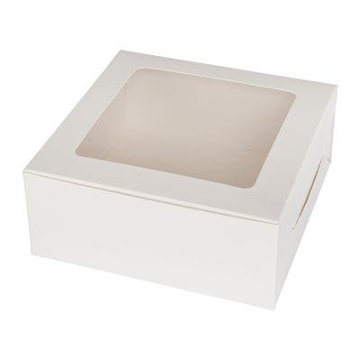 """REDMAN CAKE BOX PLAIN WHITE WINDOW SQUARE 7X7X3""""  5PCS"""