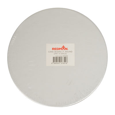 """REDMAN CAKEBOARD 7"""" ROUND SILVER 5PCS"""