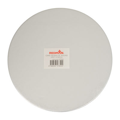 """REDMAN CAKEBOARD 8"""" ROUND SILVER 5PCS"""