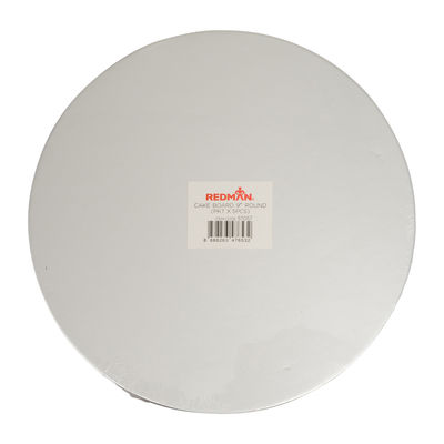 """REDMAN CAKEBOARD 9"""" ROUND SILVER 5PCS"""