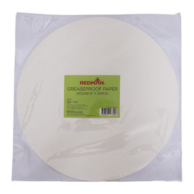 """REDMAN GREASEPROOF PAPER ROUND  9"""" (20PC)"""