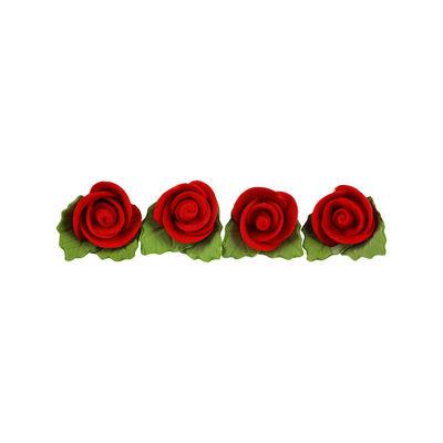 REDMAN GUM PASTE FLOWER ROSE RED 12PCS 2.5X2.5CM