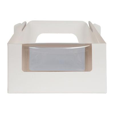 "REDMAN CAKE BOX PLAIN WHITE WINDOW/HANDLE 7X5X3.5"" 5PCS"