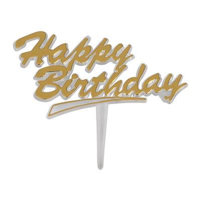 REDMAN HAPPY BIRTHDAY CLEAR TAG (GOLD) 5PCS