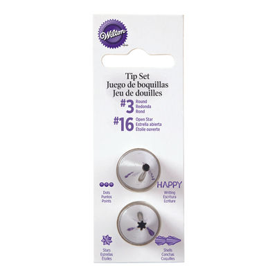 WILTON PIPING TIP SET ROUND & STAR CARDED