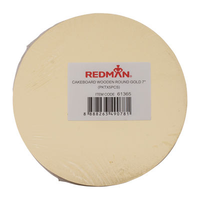 "REDMAN WOODEN CAKE BOARD ROUND 7"" GOLD 5PCS"