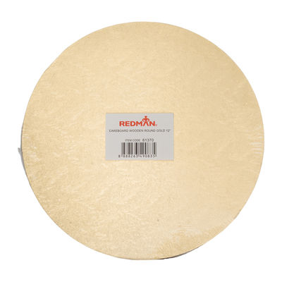 """WOODEN CAKEBOARD ROUND GOLD 12"""""""