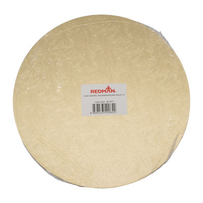 """WOODEN CAKEBOARD ROUND GOLD 13"""""""