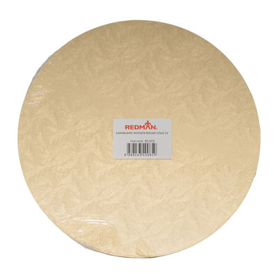 """WOODEN CAKEBOARD ROUND GOLD 14"""""""