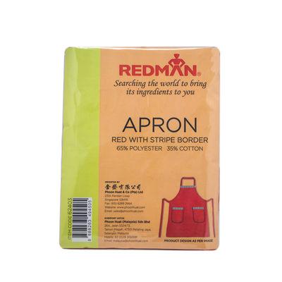 REDMAN RED/STRIP & POCKETS COTTON APRON