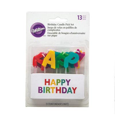 WILTON MULTICOLOR HAPPY BIRTHDAY CANDLE 13PCS 2811-702