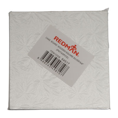 """REDMAN WOODEN CAKEBOARD SQUARE SILVER 6"""" 5PCS"""