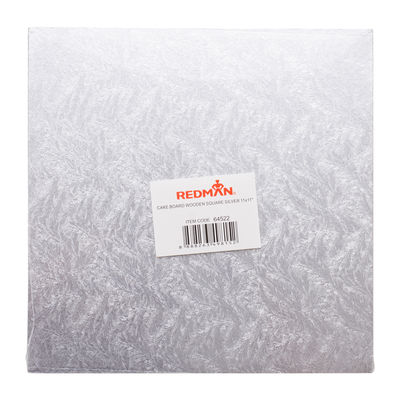 """REDMAN WOODEN CAKEBOARD SQUARE SILVER 11"""""""