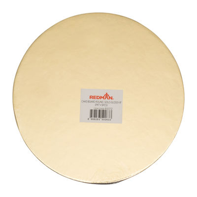"""REDMAN CAKEBOARD 8"""" ROUND GLOSSY GOLD 5PCS"""