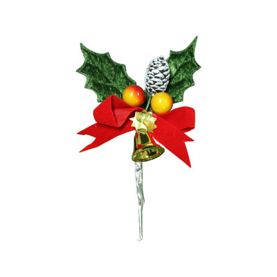 REDMAN CHRISTMAS LEAF WITH BERRY & BELL C340 5PCS