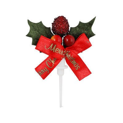 REDMAN CHRISTMAS LEAF WITH BOW C331A 5PCS