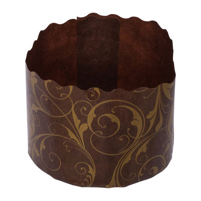 ECOPACK PANETTONE PAPER MOULD BROWN/GOLD 60X45MM 25PC